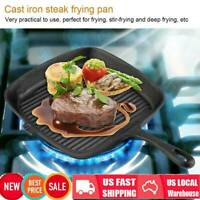 Cast Iron Non-Stick Griddle Frying Grill Square Pan For BBQ Barbeque Kitchen