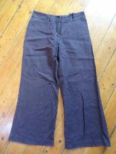 (255JAN) Size 12 *NEXT PETITE* Smart choc brown linen trousers ladies/womens