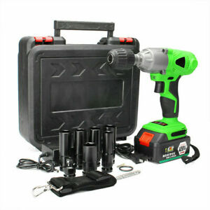 1/2'' Electric Brushless Cordless Impact Wrench High Torque Tool w/ Battery+Case