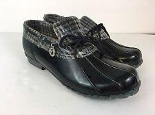 Sporto Women's Aroostic Duck Rain Shoes Size 10 Black Plaid Laced