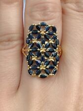 14k Solid Yellow Gold Cluster Rectangle Ring Natural Sapphire 4TCW, Sz 7.