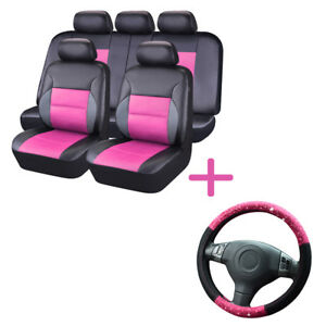 Universal Leather Car Seat Cover Steering Wheel Cover Set Black Pink 60/40 50/50