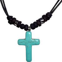Turquoise Jesus Cross Pendant Chain Necklace Mens Womens Boys Girls Jewellery