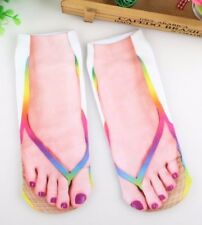 Thong socks rainbow beach summer xmas Flip flop sock sandal novelty footware