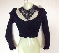 ANTIQUE VICTORIAN Black Embroidered Cotton & Silk Beaded Dress Bodice Blouse