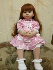 Pink Reborn Girls Silicone Babies Doll 24inch Lifelike Baby Dolls Reborn Toddler