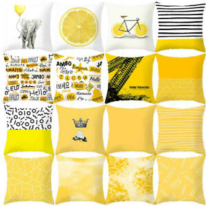 Throw Pillow Case Geometric Striped Flower Home Sofa Cushion Cover Yellow Decor