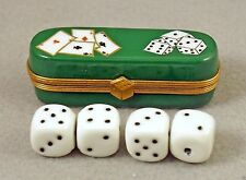 New French Limoges Trinket Box Casino De Vegas Chest Painted Cards & Dice