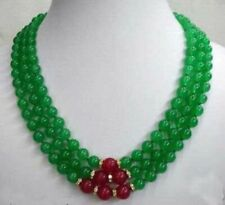 8mm Genuine Green Emerald Red Ruby 3 Rows Necklace PN564