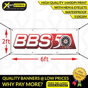BBS Racing Alloy Wheels Vinyl PVC Banner Garage Tyre Trackside Sign 6ftx2ft