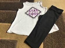 Girls Justice tank fold over waist Capri leggings size 12(Vguc)