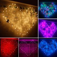 LED Light Window Curtain Heart String Fairy Light Christmas Wedding Party 2X1.5M