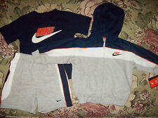Nike Outfit 3pc Set Jacket Shirt Shorts Infant Baby Boys 12 Mos Blue NIB