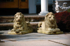 Pair of CLASSIC LAYDOWN LION cement garden statue