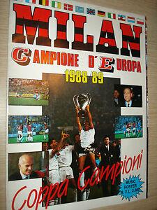 RARO MUSIC POSTER AC MILAN CAMPIONE D'EUROPA 1988/89 COPPA CAMPIONI + POSTER