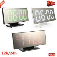 "7.8"" Digital Wall Table Mirror Alarm Clock Night Light LED Display USB 12h/ 24h"