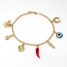 "14k Gold Filled Bracelet Chain Evil Eye Protection Love Abundance Lucky Charm 8"""