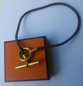 HERMES Glenan Necklace Choker / double bracelet (brown leather, gold plated)