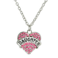 """Link Cable Chain Silver Tone """" DAUGHTER """" Carved on Heart Pendant With Pink Rhin"""