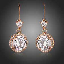 Sparkly Shiny Zircon Rhinestone Rose Gold Plated Drop Dangle Women Round Earring