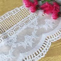 1 Yard Stickerei Blumen Baumwolle Spitze Trimmen Band Dress Stoff Nähen Material