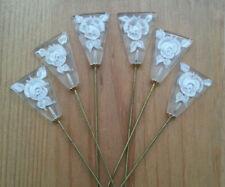 LOT de 6 GRANDES EPINGLES A CHAPEAUX anciennes décor FLEURS ROSES blanc