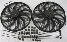 "Dual 16/"" Extreme S-Blade Electric Cooling Radiator Fans w// Mounting Kit High CFM"
