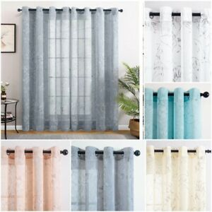 Sheer Curtains Living Room Bedroom Kitchen White Tulle Home Windows Voile Drapes