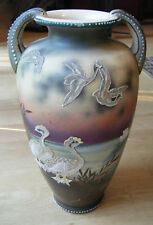 Vtg Antique Nippon Era Hand Painted Vase with Moriage and Beaded Handles 13""