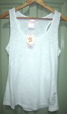 Between The Flags Size 8 14 White Slub Racer Back Cotton Blend Tank Top
