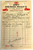 Kenny's Harley-Davidson 1950's Dealer Receipt