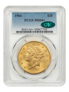 1904 $20 PCGS/CAC MS64+ Beautiful Near Gem! - Liberty Double Eagle - Gold Coin