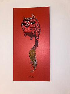 Marq Spusta Pigtail Art Print Mini 2021 Silkscreen Red Shimmer Paper