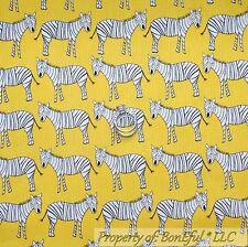 BonEful Fabric Cotton Quilt Yellow Black White B&W Zebra Stripe Baby Retro SCRAP