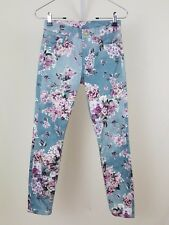 7 for all Mankind Teal Blue Pink Floral Gwenevere Skinny Ankle Jeans Sz 24