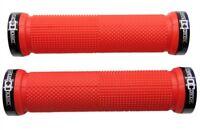 """CRANK CANDY"" Dual Knurl Vice Lock On RED Grip Bike Handle Bar Grips MTB XC DH"