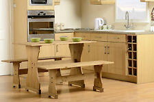 CORONA SOLID PINE DINETTE SET TABLE AND TWO BENCHES