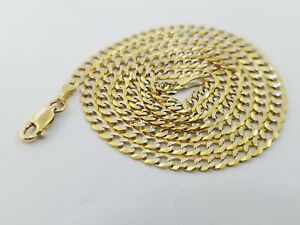 "10KT Solid Yellow Gold Cuban Link 4mm Chain Diamond Cut 16"" 18"" 20"" 22"" 24"" 26"""