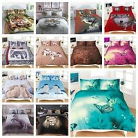 Duvet Cover Set with Pillow Cases 3D Animal Design in Single Double & King Sizes