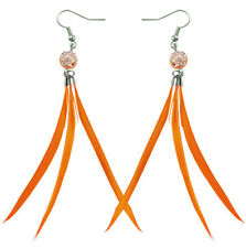 cute dangle earrings new arrive F3124 Orange Slim Feather arabesquitic beads