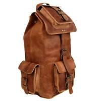 Real Goat Leather Travel Luggage Handmade Backpack Rucksack Large Vintage Bag