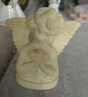 "Vintage 1960s Resin G.R. Marked Resin Angel Girl Figurine 3 1/4"" Tall"