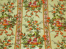 Vintage 1960s Green Striped CHINOISERIE 9.5 Yards Glazed Chintz Fabric Toile NOS