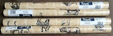 4 Double Rolls Thibaut Wallpaper Pattern T6450 Rhino Monkey Safari Animals HTF