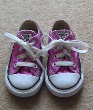 Girls Pink Sparkly Converses Size UK 5 Infant Canvas Shoes Pumps Plimsolls