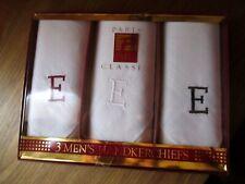 NEW NIB 3 Paris Classic monogrammed E White handkerchiefs  IN BOX