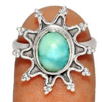 Genuine Larimar - Dominican Republic 925 Silver Ring Jewelry s.6.5 BR19552  XGB