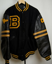 Butwin Letterman Varsity Jacket Sz Large Black / Yellow Wool & Leather Vintage
