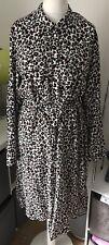 NEXT Black Beige Brown Animal Print Button Up Shirt Dress Women UK 18