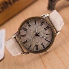 Men & Women Watch Leather Strap Jeans Style Sport Quartz Wristwatches
